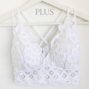 EDEN Plus White Floral Padded Lace Bralette